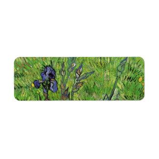 Iris Vincent van Gogh, flor del jardín del vintage Etiquetas De Remite