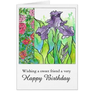 Iris Watercolor Flowers Happy Birthday Friend Card