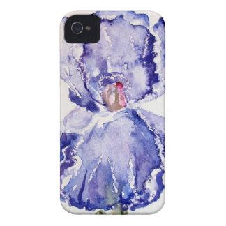 Iris Watercolor painting Purple - Blue iPhone 4 Case