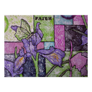 Iris With Butterfly Poster