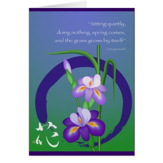 Iris with Enso circle and Zen wisdom zazzle_card