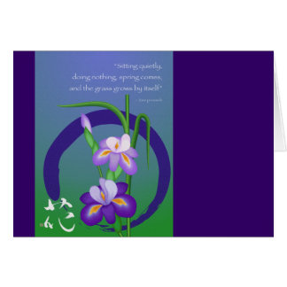 Iris with Enso circle and Zen wisdom Greeting Card
