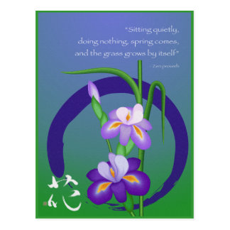 Iris with Enso circle and Zen wisdom Postcard