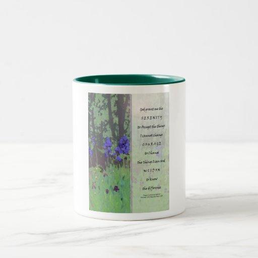 Iris y árboles del rezo de la serenidad tazas de café