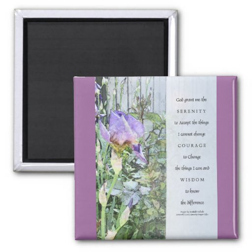 Iris y cerca del rezo de la serenidad azules claro imán para frigorifico