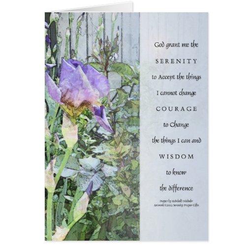 Iris y cerca del rezo de la serenidad azules claro felicitación