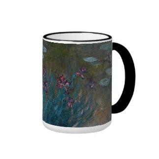 Iris y lirios de agua taza de café