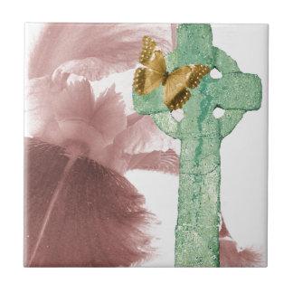 Iris y marcador de la piedra azulejo cuadrado pequeño