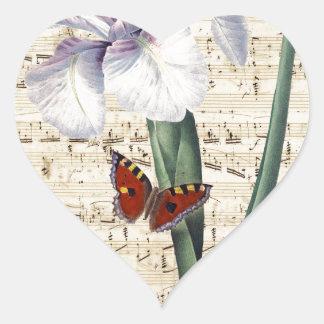 Iris y música calcomanías de corazones
