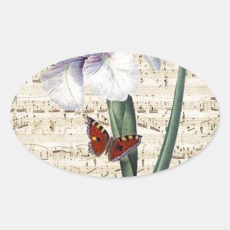 Iris y música pegatina de óval personalizadas