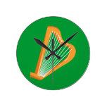 Irische Harfe Irish harp Round Clock