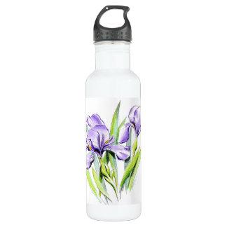 Irises 24 oz. White Water Bottle
