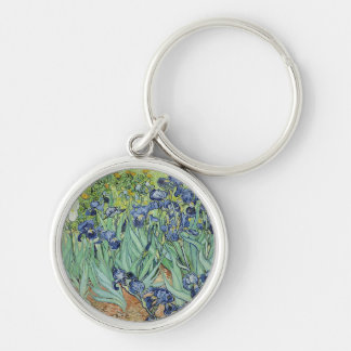 Irises 2 by Vincent Van Gogh Silver-Colored Round Keychain