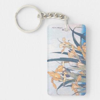 Irises and Grasshopper Katsushika Hokusai flowers Double-Sided Rectangular Acrylic Keychain
