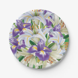 Irises and Lilies For Easter Paper Plate