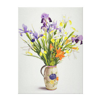 Irises and Lilies in a Dutch Jug Canvas Print