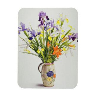 Irises and Lilies in a Dutch Jug Rectangular Photo Magnet