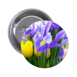Irises And Tulips Spring Flowers Pinback Button