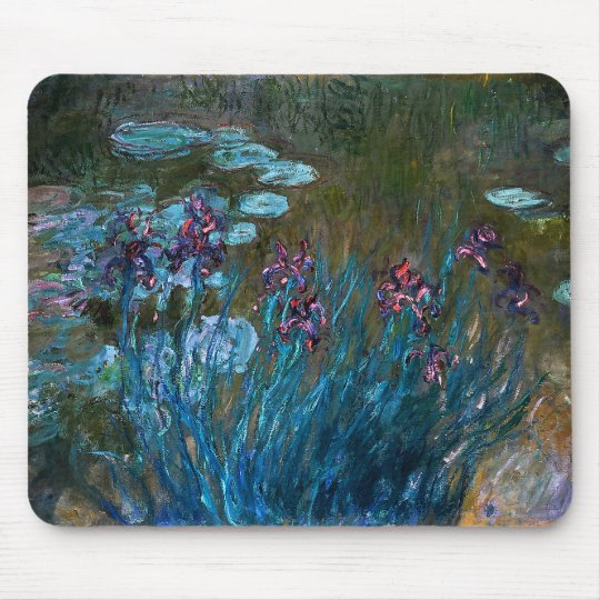 Irises and Water Lilies, Claude Monet Mouse Pad