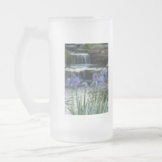 Irises At Chateau Frosted Glass Beer Mug