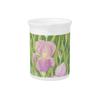 Irises at Wisley Gardens in Surrey in Pastel Jug Pitcher