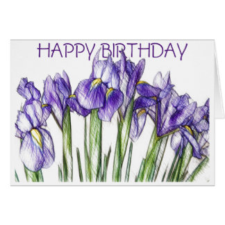 Irises Birthday Card (Blank)