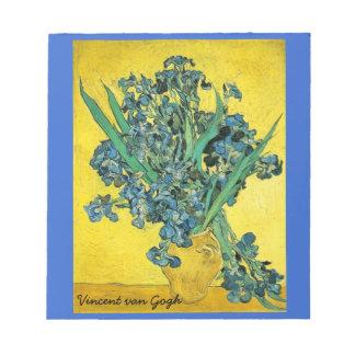 Irises blue and yellow notepad