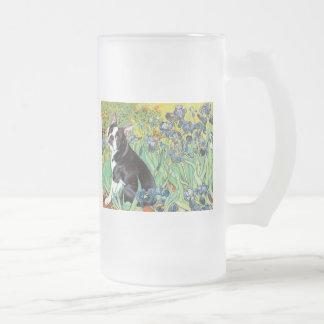 Irises - Boston Terrier #4 Frosted Glass Beer Mug