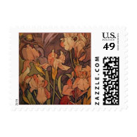 Irises by Alphonse Mucha Postage Stamps