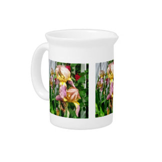 Irises By Picket Fence Pitcher