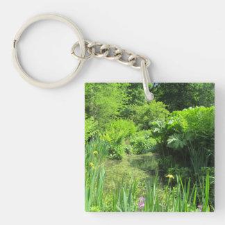 Irises by Pond, Richmond Park Acrylic Key Ring Double-Sided Square Acrylic Keychain