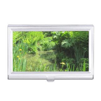 Irises by Pond, Richmond Park Business Card Holder