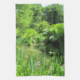 Irises by Pond, Richmond Park Photo Tea Towel