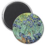 Irises by Van Gogh 2 Inch Round Magnet