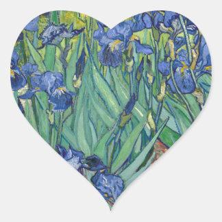 Irises by Van Gogh Heart Sticker