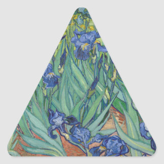 Irises by Van Gogh Triangle Stickers