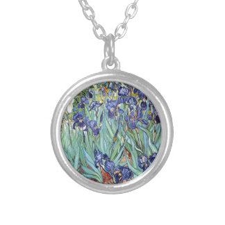 Irises by Vincent van Gogh 1898 Silver Plated Necklace