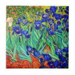 "Irises by Vincent Van Gogh Ceramic Tile<br><div class=""desc"">Vincent Van Gogh Irises . Painted in 1889 it is one of the painting he created in Saint Paul-de-Mausole asylum in Saint-Rémy-de-Provence in France. It is an oil painting. This fine art landscape oil painting depicts a field of iris flower plants. Vincent Van Gogh was a famous artist. He was...</div>"