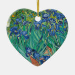 Irises by Vincent van Gogh Double-Sided Heart Ceramic Christmas Ornament