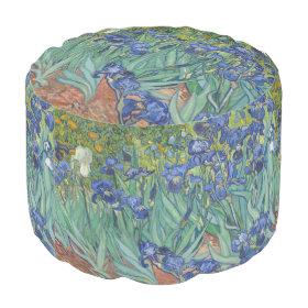 Irises by Vincent Van Gogh Round Pouf