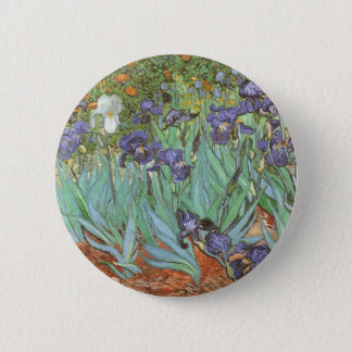 Irises by Vincent van Gogh, Vintage Flowers Art Button