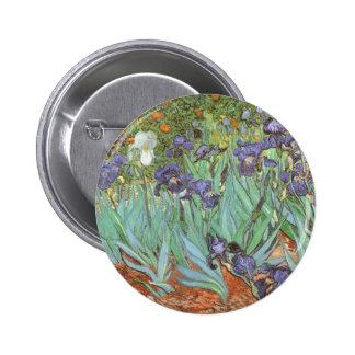 Irises by Vincent van Gogh, Vintage Flowers Art Button