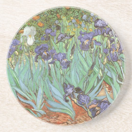 Irises by Vincent van Gogh, Vintage Flowers Art Drink Coaster