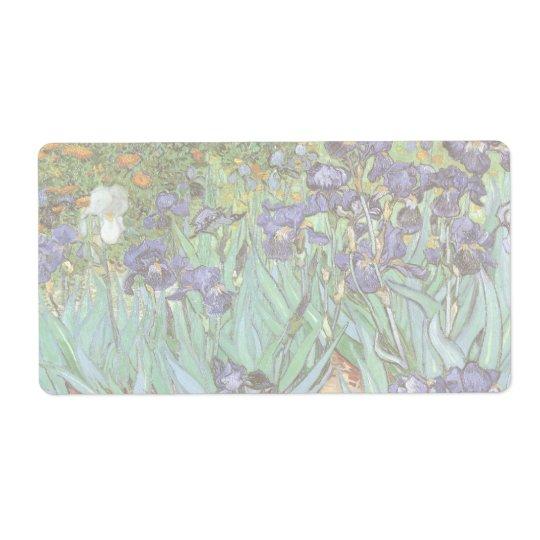 Irises by Vincent van Gogh, Vintage Flowers Art Label