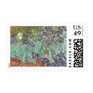 Irises by Vincent van Gogh, Vintage Flowers Art Postage