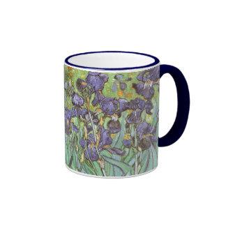Irises by Vincent van Gogh, Vintage Flowers Art Ringer Mug