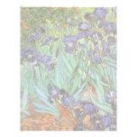 Irises by Vincent van Gogh, Vintage Garden Flowers Custom Letterhead