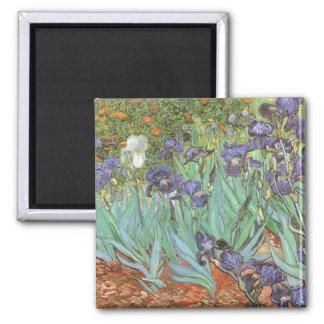 Irises by Vincent van Gogh, Vintage Impressionism 2 Inch Square Magnet