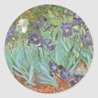Irises by Vincent van Gogh, Vintage Impressionism Classic Round Sticker