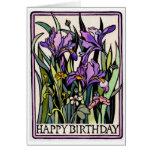 Irises Happy Birthday Card